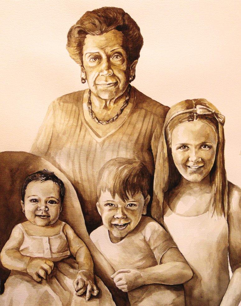 Retrato Petruca y nietos